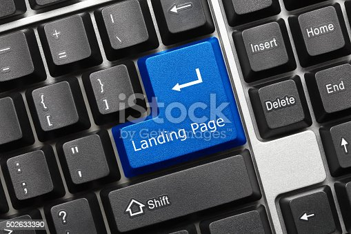 1131526784 istock photo Conceptual keyboard - Landing Page (blue key) 502633390