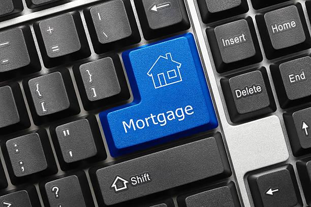 Konzeptionelle Tastatur-Hypotheken (blaue Taste) – Foto