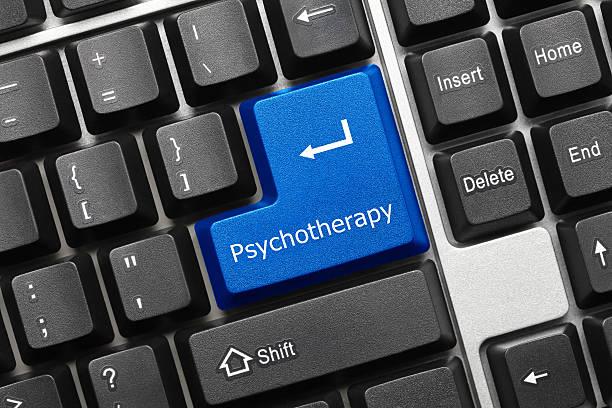 Konzeptionelle Tastatur-Taste Psychotherapy (blau – Foto