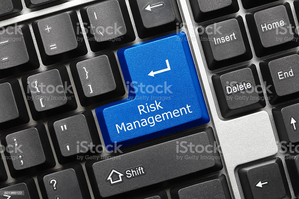 Conceptual keyboard - Risk Management (blue key) stock photo