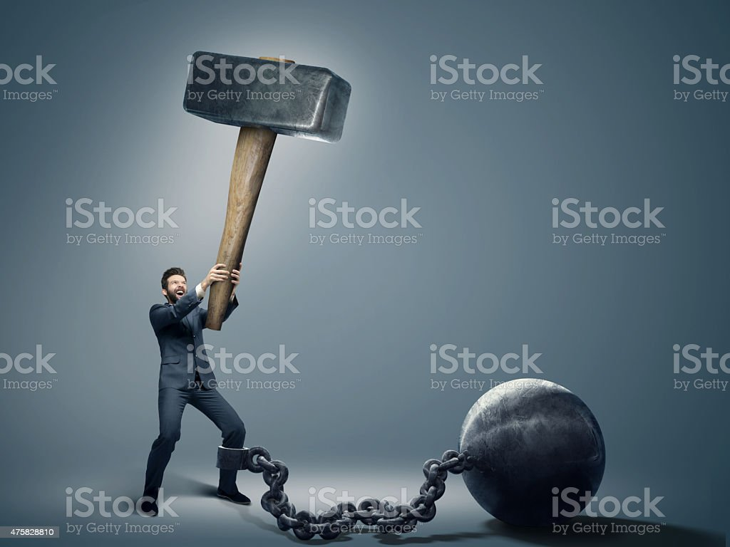 Conceptual photo of an employee trying to quit a job stock photo