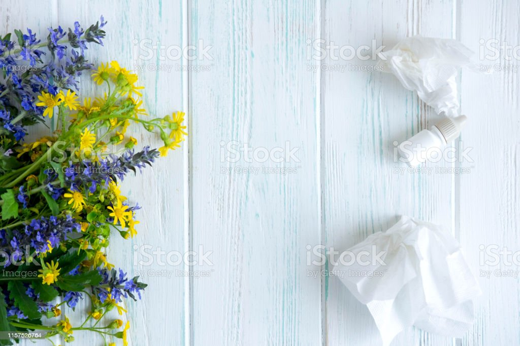 Conceptual photo with wildflowers, nose drops and shawls. Allergy....