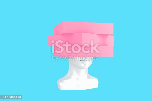istock Conceptual representation of a female head with crushed problems 3d illustration 1171084413
