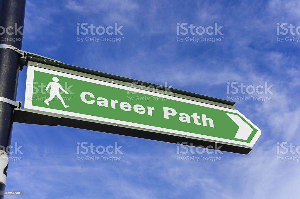 Conceptual Road Sign on Career stock photo