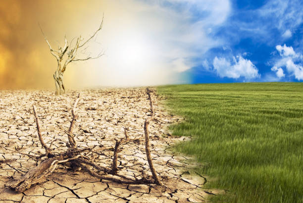 conceptual scene, climate change conceptual scene: metamorphosis of our planet, transition from a green environment to the hostile and arid climate due to climate change eroded stock pictures, royalty-free photos & images