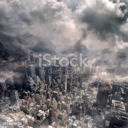 conceptual cityscape image of aerial Manhattan buildings view in smokes in New York City