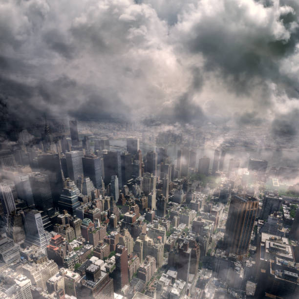 Conceptual spooky New York City view stock photo