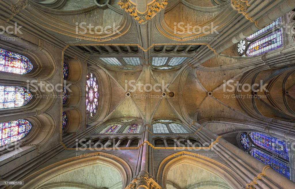 Conceptual symmetry in Reims Notre-Dame Cathedral vault, France stock photo