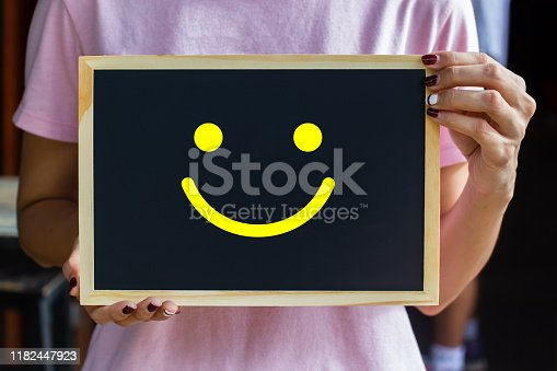 693589426 istock photo Conceptual the customer responded to the survey. The client showing happy face smile icon on blackboard. Depicts that customer is very satisfied. Service experience and satisfaction concept. 1182447923