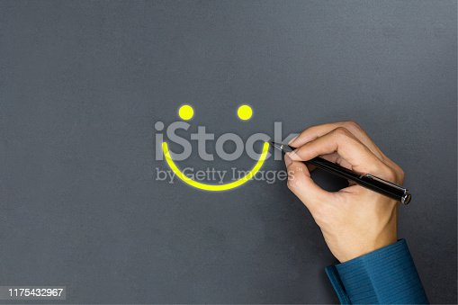 693589426 istock photo Conceptual the customer responded to the survey. The client using pen write happy face smile icon on blackboard. Depicts that customer is very satisfied. Service experience and satisfaction concept. 1175432967