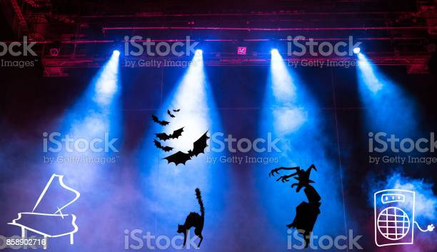 Conceptual view of halloween music party with blue projector lights picture id858902716?b=1&k=6&m=858902716&s=612x612&h=gxhrtcqmhxlf9g0uzxyyfnlbrqmwsfpzzgp dewgvoa=