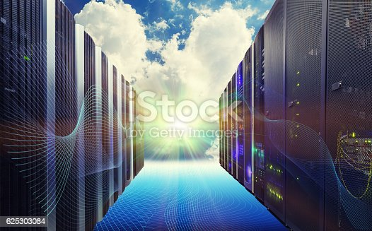 istock Conceptual vision of Datacenter on cloud Computing 625303084