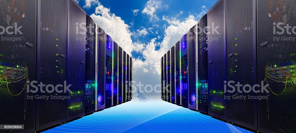 Conceptual vision of Datacenter on cloud  Computing stock photo