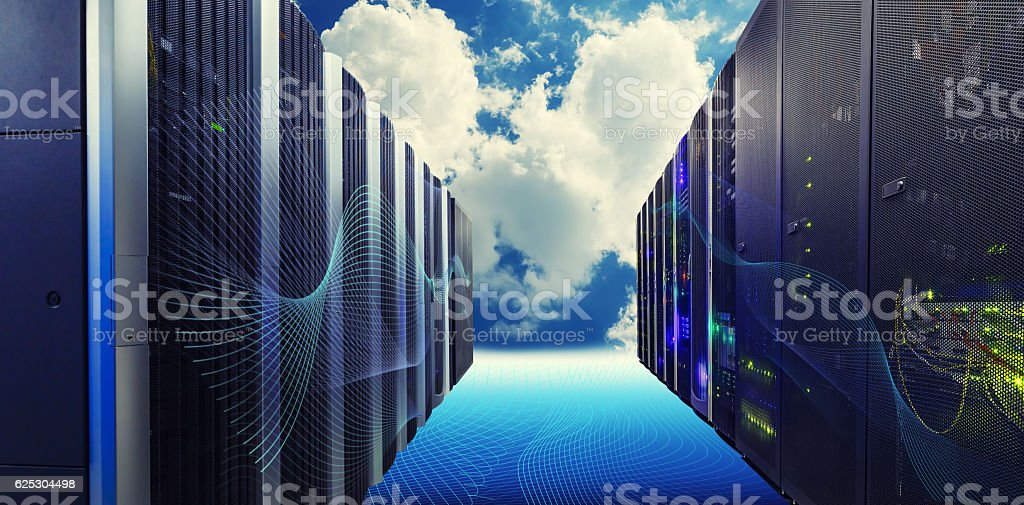 Conceptual vision of Datacenter on the cloud  Computing stock photo