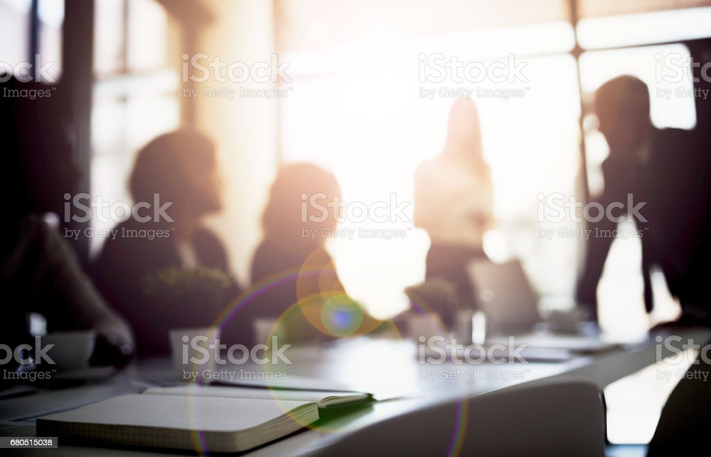 Conceptualizing boardroom business stock photo