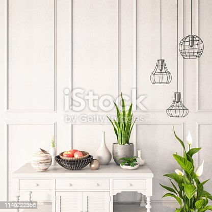 Table with plants and decorations