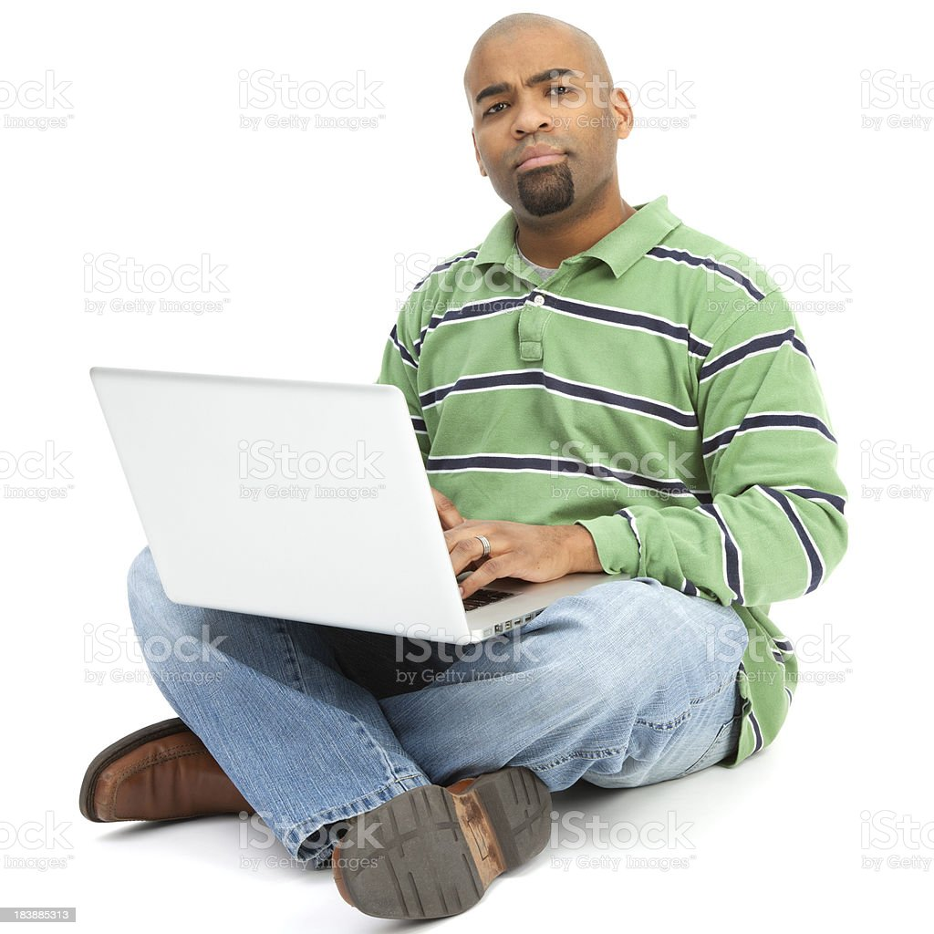 Concerned African American Man with Laptop royalty-free stock photo