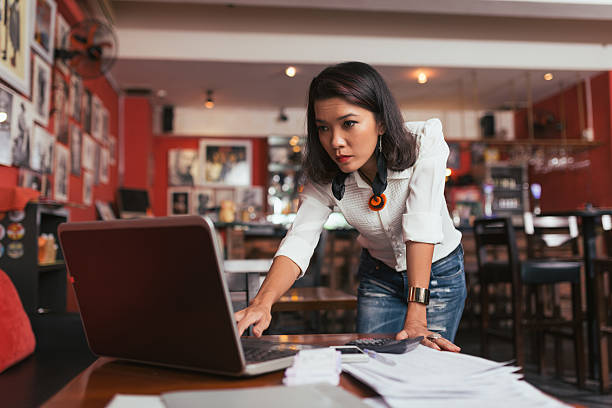 Concerned business woman stock photo