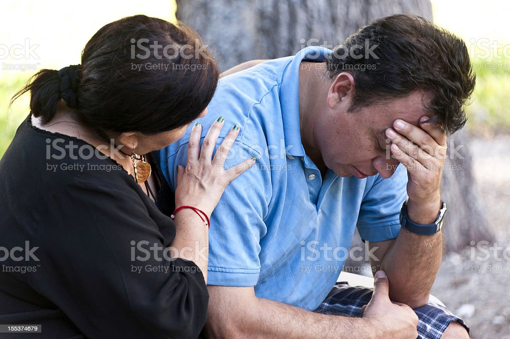 Concerned Hispanic Couple royalty-free stock photo
