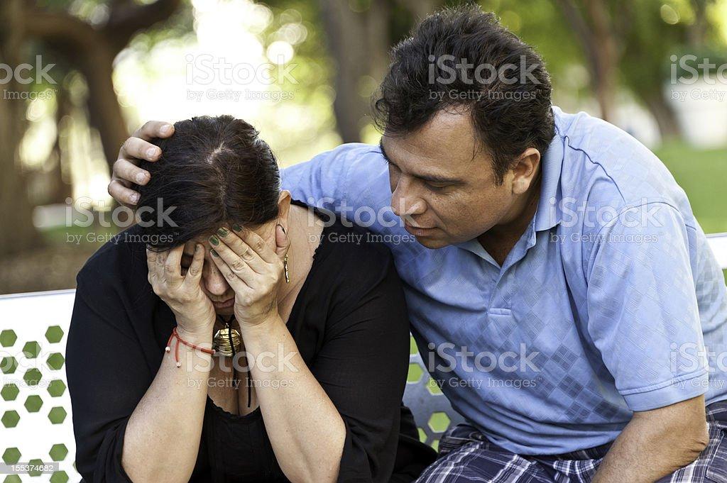 Concerned Hispanic Couple royalty-free stock photo