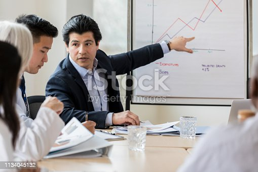 Serious mid adult Hispanic male hospital administrator points at a chart or graph with a concerned expression on his face during meeting with healthcare professionals.