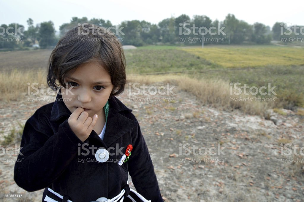 Concerned Little Girl stock photo