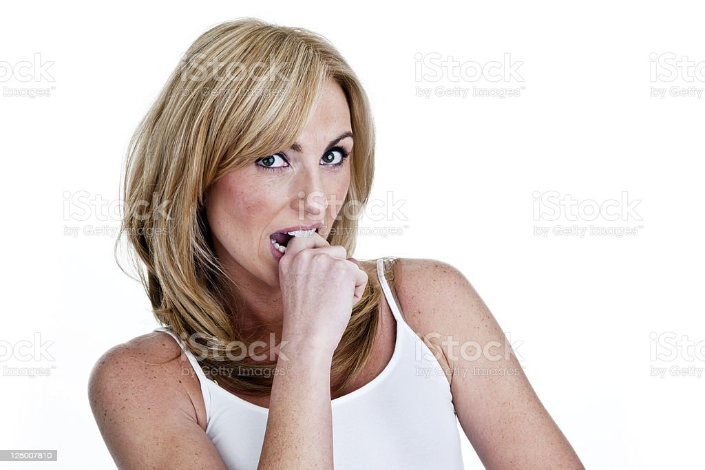 Concerned woman or making a decision royalty-free stock photo