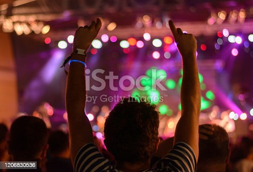 People at concert party, crowd at music festival. Rock concert
