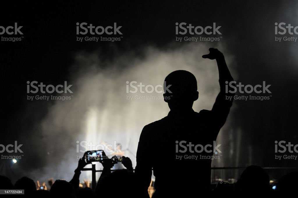 Concert crowd, hands up royalty-free stock photo