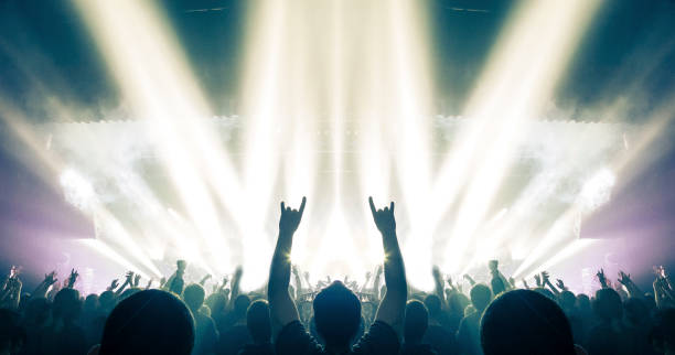 concert crowd in a huge arena - popular music concert stock photos and pictures