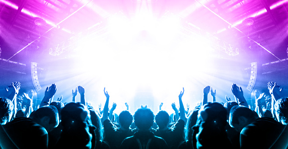 Concert crowd in front of a live stage