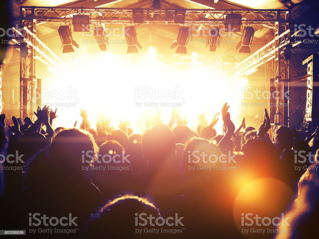 Concert Crowd In Front Of A Live Stage Stock Photo & More Pictures