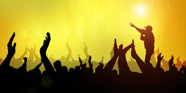 Concert Crowd Party Music and Abstract Light yellow stock photo