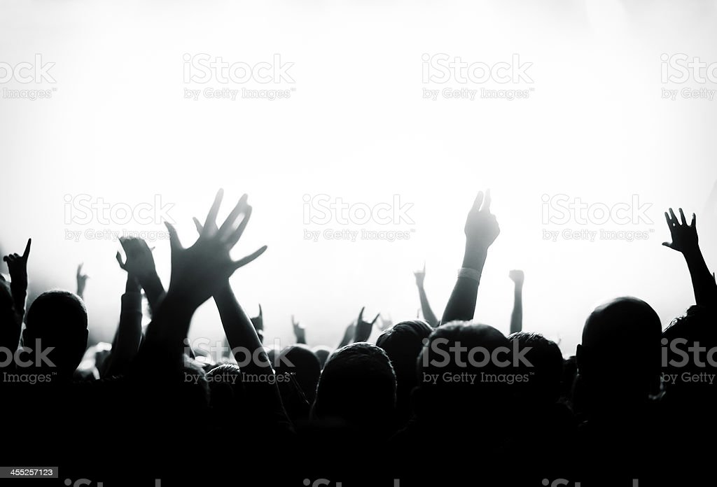 Crowd cheering and watching a band on stage, shallow DOF.
