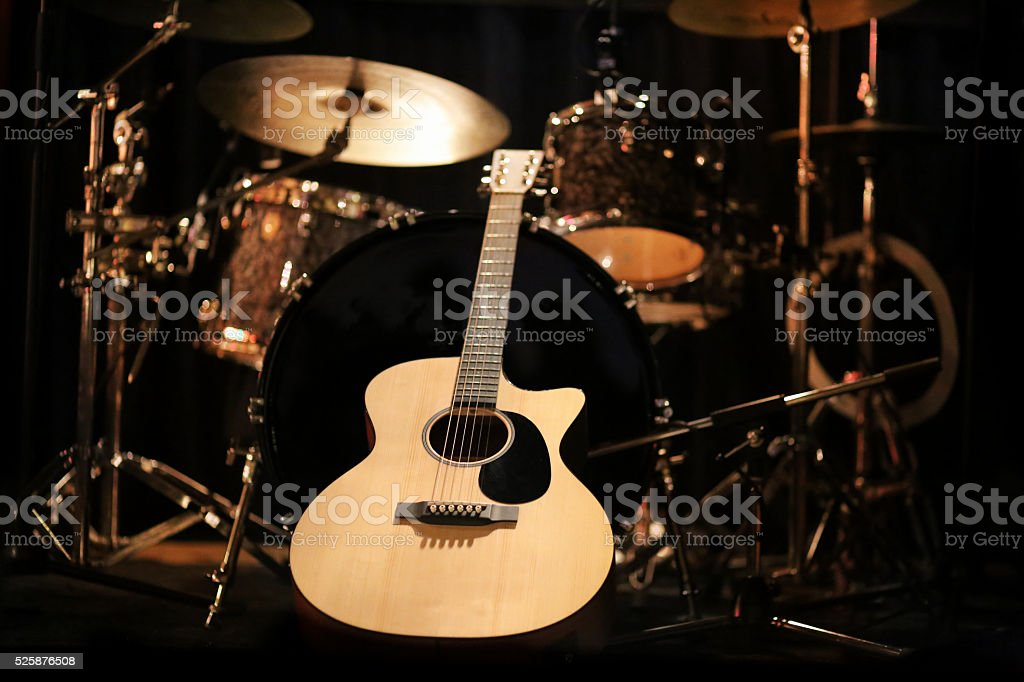 Concert guitar on stage stock photo