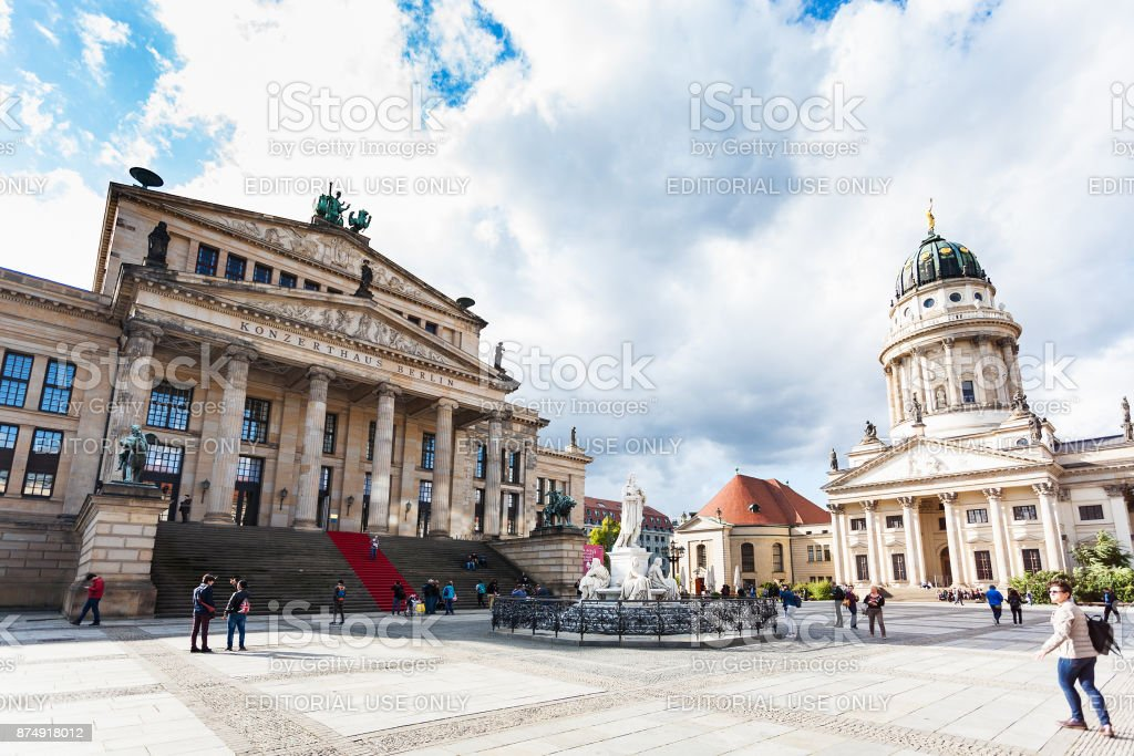 Concert Hall and Schiller monument in Berlin stock photo