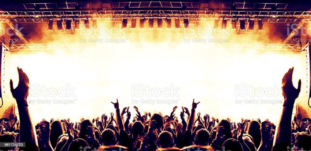 Concert hall with excited crowd