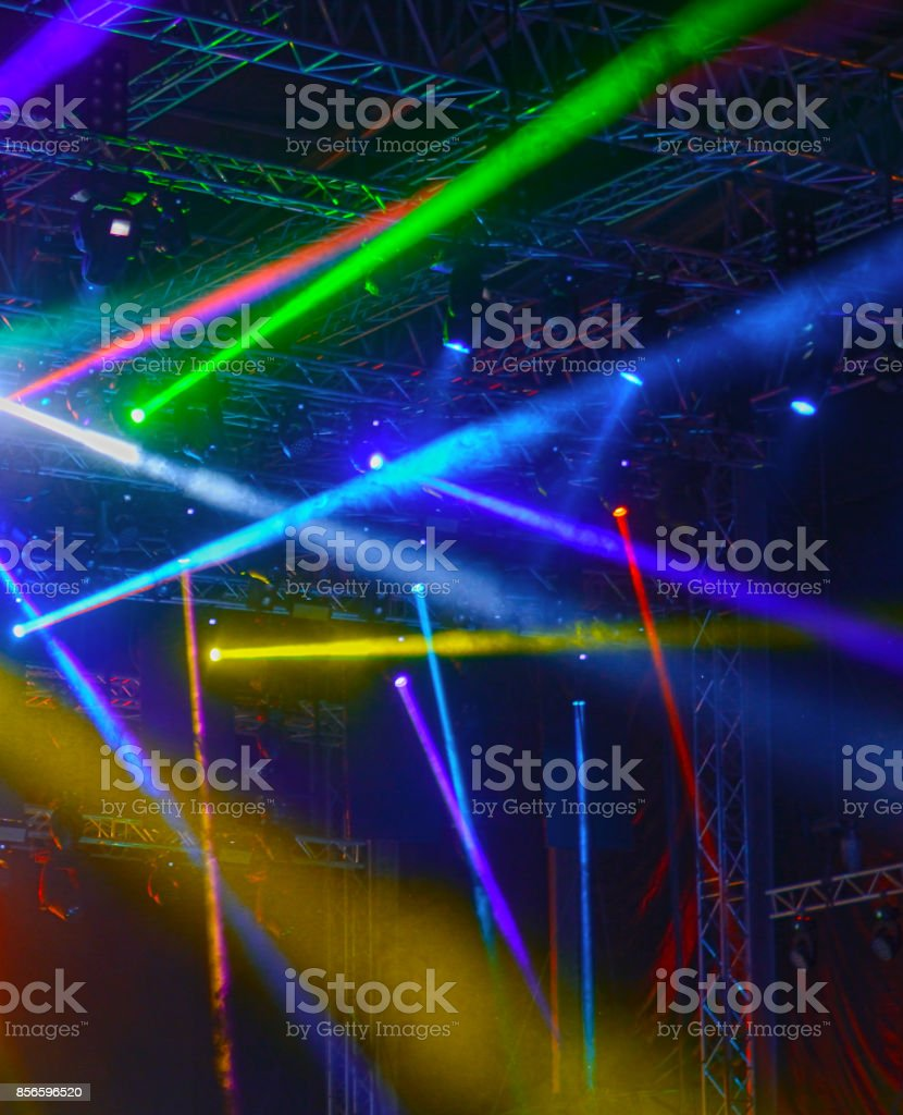 Concert lighting, stage lights. Spotlights at the music festival. stock photo