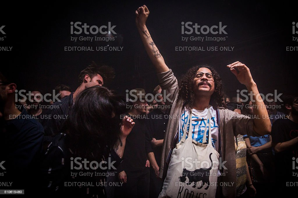 Concert of  Dutch indie rock trio Bombay at OT301, Amsterdam stock photo