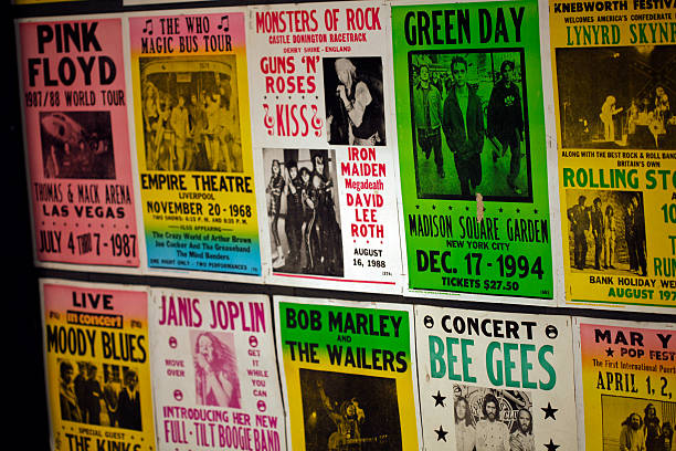 Concert posters stock photo