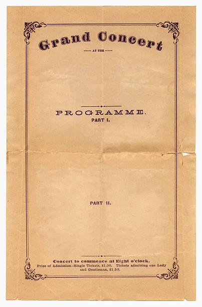 konzert-programm aus dem jahre 1870 - klapprahmen stock-fotos und bilder