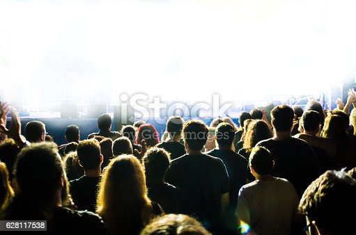 unrecognisable spectators in a concert with bright light