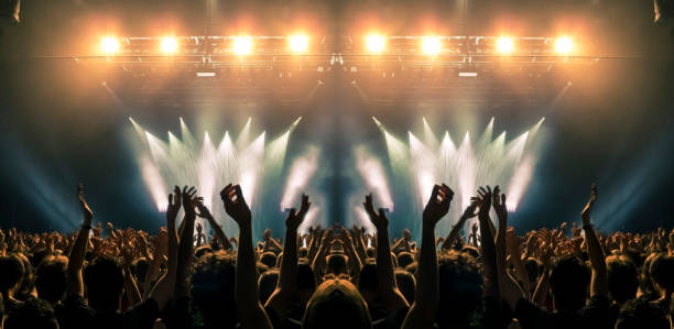 Concert stage, people are visible waving and clapping, silhouettes are visible A shot taken in front of a concert stage lit in the night, people are visible waving and clapping, but no one is recognizable. spectator stock pictures, royalty-free photos & images