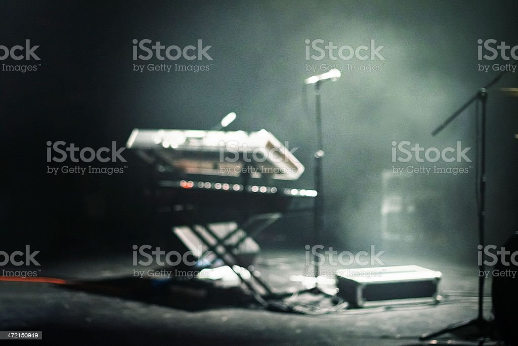 Concert Stage, Piano, Smoke And Lights stock photo