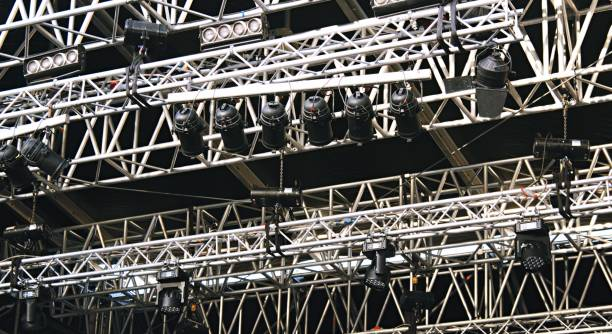 Concert stage spot lighting rigging structure for a live musical theater event Concert stage spot lighting rigging structure for a live musical theater event rigging stock pictures, royalty-free photos & images