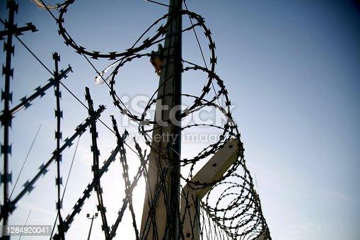 mata de sao joao, bahia / brazil - november 8, 2020: concertina wire fence is seen in an industrial area in the city of Mata de Sao Joao.