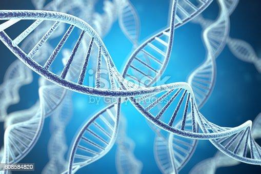 istock Concetp digital illustration DNA structure. 3d rendering 608584820