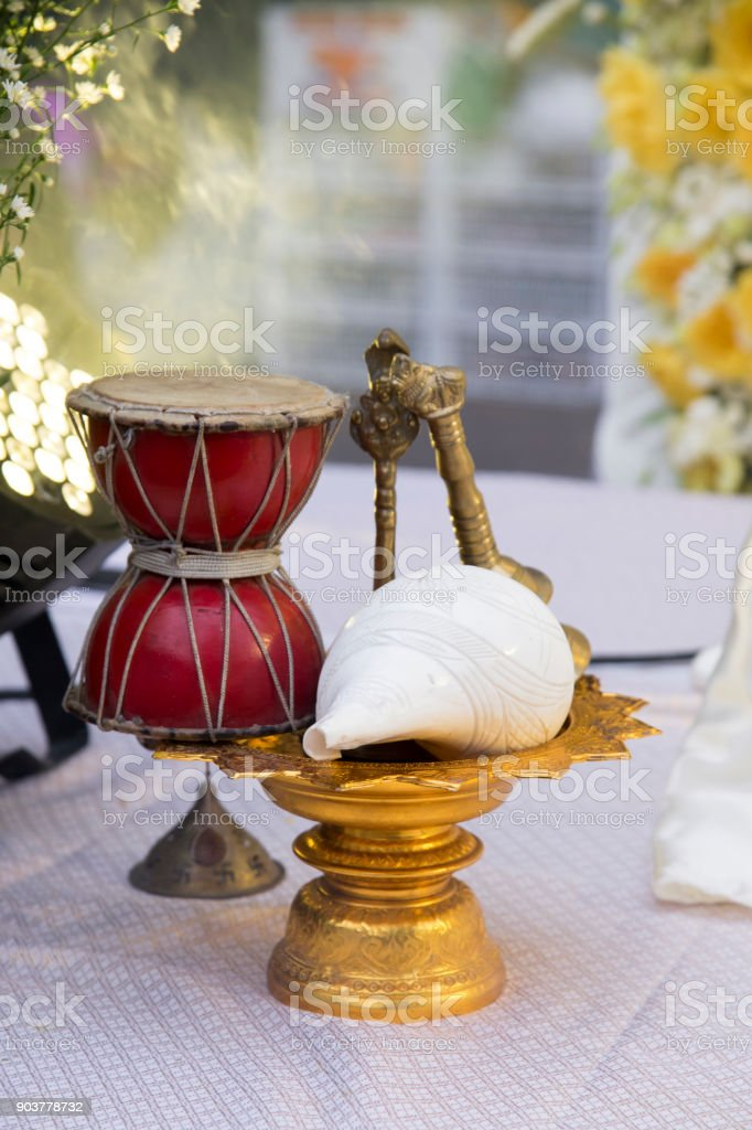 conch shell (Shankha) and Drum for Hindu worship, decorate set used for pray to hindu god in hindu traditional culture, india stock photo