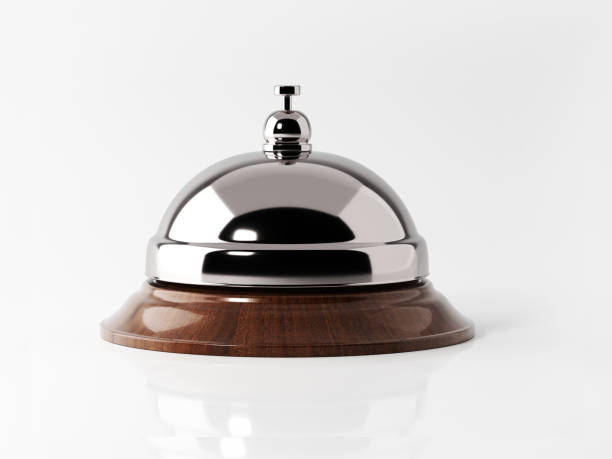 concierge bell isolated on white background - bell stock pictures, royalty-free photos & images