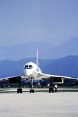 05/01/1983 Klagenfurt, Austria, A Concorde airplane on the taxiway of an airport in Austria in front view